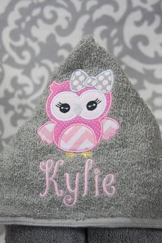 Kid Hooded Towel  Owl Girly Owl Girlie Owl by BluePeonyStitches