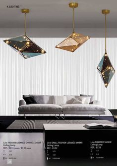 Diamond shape, making it different and irreverent. Translucent in dark or light tone, with little touches of gold. Modern and timeless, is ideal for a wide rang Touch Of Gold, Home Lighting, Constellations, Sweet Home, Diy, Design Inspiration, House Design, Ceiling Lights, Interior Design