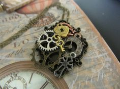 Steampunk Pendant necklace with Cogs gears by InspiredbySteamPunk