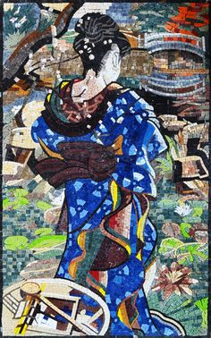 Geisha Marble Mosaic Mural Wall Tile Art Design for Home Decor - Mosaic Tile Art, Marble Mosaic, Mosaic Glass, Stained Glass, Mosaic Mirrors, Mosaic Portrait, Mosaic Pieces, Mosaic Projects, Glass Wall Art