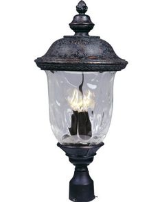 Maxim Lighting 40420WGOB Carriage House VX 3-Light Outdoor 26.5-Inch Pole/Post Lantern, Oriental Bronze Finish by Maxim Lighting. $163.38. From the Manufacturer                The Maxim Lighting 40420WGOB Carriage House VX Collection 3-light Outdoor Post Lantern is made with Vivex, a material twice the strength of resin, which is non-corrosive, UV resistant and backed with a 3-Year limited warranty and finished in an oriental bronze while being paired with a be...