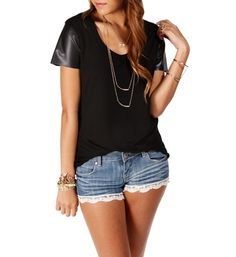 Black Faux Leather Sleeves Top - windsorstore.com