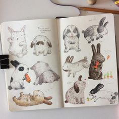 Easter bunnies #drawing #illustration #moleskine #moleskine_arts #bunny #easter #makeartthatsells #colorpencil #sketchbook #prismacolor