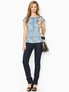 This casual tee is crafted from lightweight cotton jersey and features a preppy striped pattern. #Fashion  #RalphLauren
