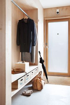 Entry Closet Organization, Flat Interior, Home Interior Design, Santorini House, Front Closet, Vestibule, Entry Hallway, House Entrance, Cabin Homes