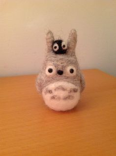 Needle felted Totoro and soot ball (front) by lisathegiraffeable