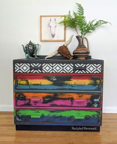 For Sale. I love how this turned out. Southwestern with a boho flair. Available in my Etsy shop. Plenty of heavy distressing on this one. Bold furniture. Southwestern style dresser. Boho furniture. Furniture artist. Creative furniture. I create custom pieces for clients throughout the US. Email me through my website if you have questions. Boho stle. Lodge style. Cabin style. Vivid colors. Custom Furniture, Painted Furniture, Lodge Style, Southwestern Style, Vivid Colors, Dresser, My Etsy Shop, Cabin, Handmade Gifts