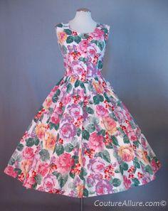 Vintage 80s cotton full skirt rose print 50's style dress