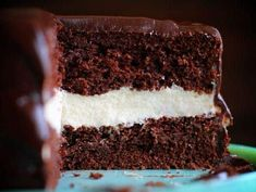 Ding Dong Cake - I Am Baker: Sometimes chocolate is all you need to wash away a world of hurt. This cake is just that. amazing flavor and texture. It brings you right back to the joy of your youth. Best Birthday Cake Recipe, Cool Birthday Cakes, Cupcakes, Cupcake Cakes, Frosting Recipes, Cake Recipes, Just Desserts, Delicious Desserts, Ding Dong Cake