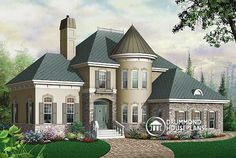 "Drummond House Plan # 3422, ""The Whittier"" features a turret which functions as a home office on the main level and master suite sitting area upstairs."
