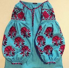 Blue red Vyshyvanka vita kin style Embroidered Bohemian Linen Folk Embroidery TUNIC Dress Boho Vita Kin Style. Sizes - XS-XXL 021