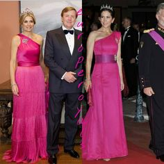 """""""Who looks better in her pink one shoulder gown ? Queen Maxima of the Netherlands Or Crownprincess Mary of Denmark #stylecheck…"""""""