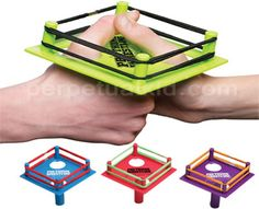"PRO THUMB WRESTLING $6.99  Pro Thumb Wrestling is a full-size, officially sanctioned professional thumb wrestling ring. All contenders must insert their thumbs through the opposite corner holes and come out wrestling.    One, two, three, four…. I declare a thumb war!    Ring measures 5"" x 5"""
