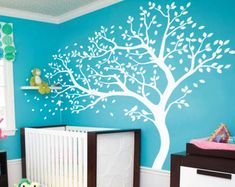 Tree wall decal huge tree wall decals nursery wall decor wall mural kids room wall decoration with cute birds and leaves - 098 Monogram Wall Decals, Nursery Wall Decals, Wall Decal Sticker, Tree Decals, Wall Stickers Murals, Wall Murals, Bird Wall Art, Tree Wall, Simple Wall Paintings