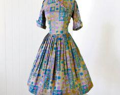 vestido vintage 1950.. .rare WATUMULL y leilani ropa por traven7
