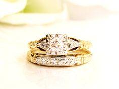 Art Deco Engagement Ring Set 0.25ctw Diamond Rare Vintage Jabel Bridal Set 14K Two Tone Gold Diamond Wedding Ring Antique Wedding Set Size 5 by LadyRoseVintageJewel on Etsy