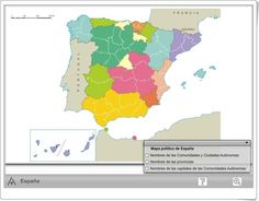 Mapa interactivo político de España (Editorial Anaya) Anaya, Diagram, Education, World, Madrid, Ideas, Socialism, School, Interactive Map