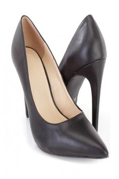 Black Pointed Toe Single Sole High Heels Faux Leather