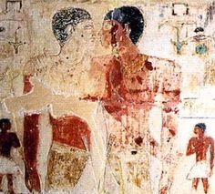 Niankhkhnum and Khnumhotep The two men were royal court manicurists who lived about 2400 B.C. in the ancient Egyptian city of Saqqara and were buried together much like a married couple.