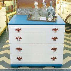 Pretty little #teal #twotone #dresser went to booth @curiositiesvintage today!  #paintedfurniture #copper #chic #decor #vintagebooth #beaverton