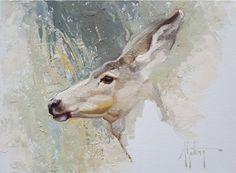 Aware by Abigail Gutting, Oil, 9 x 12 Deer Art, Moose Art, Mule Deer, Wild Nature, Wildlife Art, Nature Animals, Animal Paintings, Illustration Art, Horses