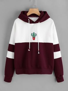 Sweatshirt Cactus Poleron Mujer Print Patchwork Striped Women Hoodies Embroidery Long Sleeve Oversized Hoodie Cute Pullover Size S Color black sweatshirt Mode Outfits, Casual Outfits, Fashion Outfits, Men Fashion, Preppy Fashion, Fashion Black, Fast Fashion, Fashion Fashion, Fashion Ideas