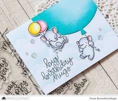 Hello! Today on Mama Elephant's blog we highlight the last's release stamp set —Scripty Bday. It contains few interesting large birthday sentiments. I decided to combine this set with the newFly With Me stamp set. And they look very cheerful and festive together. I stamped and colored with Copic markers two elephants. For one of them I cut out the balloon and added another one I made with the balloon shape fromRainbow Highcreative cuts. I blended it withPeacock Feathers Distress ink. …