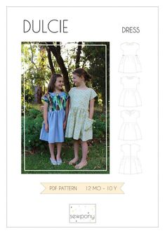 Free Girl's Dress Sewing Pattern - the Dulcie from SewPony. What a cute summer dress with dolman sleeves!