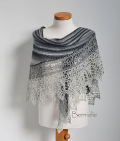 Crochet shawl, scarf, lace, shades of grey, merino wool, M241 by Berniolie