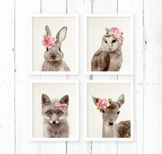 Woodlands Print Set Nursery Animal Wall Art by AMELIEVintageCo