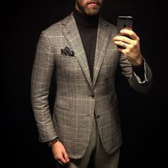 15.12.08 - Cotton & Cashmere... 100% Cashmere jacket by @domenicovacca, turtleneck in merino wool by @samanamel and MTM Trousers in Peached cotton by @stoffa.co.  #menswear #style #inspiration #wiwt #cashmere #turtleneck #jacket #princeofwales #glencheck #trousers #stoffa #domenicovacca #mensstyle #mensfashion