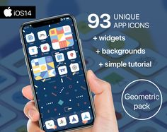 93 Premium App Icons - Geometric edition - iPhone iOS14 - Customisable Apple Homescreen + 3 widgets + 3 backgrounds + Simple Tutorial Music Clock, Screen Icon, Phone Books, Custom Icons, Etsy App, Facetime, App Icon, Soft Colors, Homescreen