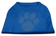 Mirage cat Products Clear Rhinestone Paw Shirt, X-Small, Blue => For more information, visit now : Cat Apparel