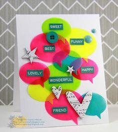Neon Speech Bubbles Card by Gayatri Murali at Studio Calico