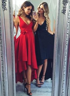 Stylish v neck chiffon high low prom dress, formal dress
