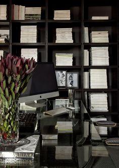 Diego Revollo Sao Paolo stylist apt office modern black bookshelves