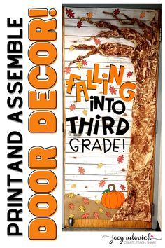 This September Door Decoration set for is perfect to bring Autumn to your pre-K, Kindergarten, 1st, 2nd, 3rd, 4t, 5th, 6th, 7th, 8th, 9th, 10th, 11th, 12th grade. Capture the essence of Fall with the pumpkin, leaves & tree. This download includes three different sizes of all the letters, pre-colored leaves, tips and tricks to assemble & video suggestion on how to use this with your CRICUT machine. (preschool, Kindy, first, second, third, fourth, fifth, sixth graders, middle school, high school) Middle School Classroom, Classroom Door, New School Year, Back To School, Colored Leaves, Pumpkin Leaves, Board Decoration, Bulletin Board Display, Welcome Fall