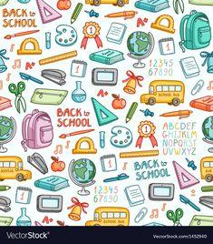School pattern in color vector 1452940 - by stolenpencil on VectorStock® Patterned Heat Transfer Vinyl, Patterned Vinyl, Color Vector, Vector Art, Back To School Wallpaper, Back To School Clipart, School Icon, Scrapbook Paper, How To Draw Hands