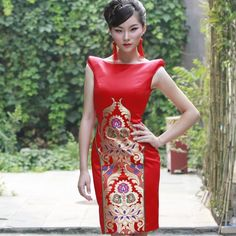 Fancy - Chinese pattern red dress for wedding - The first Shop of Chinese Qipao Cheongsam dress | Free shipping