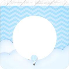 Bandeirinha Varalzinho Quadrada Balão de Ar Quente Azul