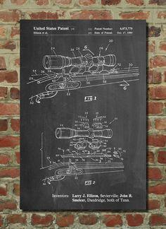 Black Powder Rifle Scope Patent Poster, Gun Enthusiast, Rifle, Hunting Decor…