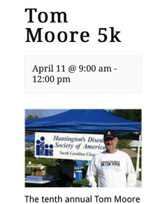 10th Annual Tom Moore 5K - Saturday, April 11, 2015. Late registration opens at 8am race starts at 9am. Race will take place at Mayors Clawson-Burnley Park on the Greenway Trail. More information go to www.5k.appstate.edu