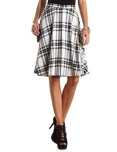 Plaid Single Pleat Full Midi Skirt #CharlotteRusse