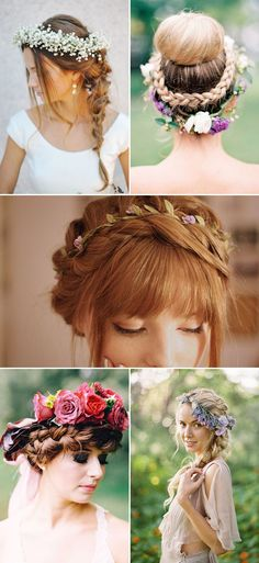 16 Unique Hairdos that Look Perfect with Flower Crowns! Boho romantic braids with flower crown