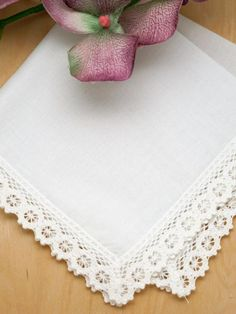 """Set of 3 Daisy Tip Lace Wedding Handkerchiefs This is a set of 3 white daisy tip lace wedding handkerchiefs.  Each ivory handkerchief has daisy tip lace edging all around the entire handkerchief. Each handkerchief is 100% cotton and measures approx 12.5"""" x 12.5"""" square.  Ideal for small gifts for any special occasion."""