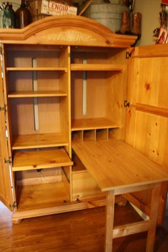Broyhill Pine FONTANA Office Computer ARMOIRE For Desk, Tv, Study, Lamps,  Hutch