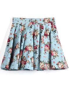 Falda plisada flor rojo-Azul claro EUR€15.72