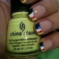 Cute softball nail design. :)