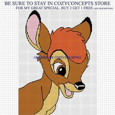 BAMBI FACE CROCHET PATTERN AFGHAN GRAPH EMAILED .PDF