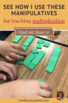 My go to math manipulative for teaching multiplication are foam tiles. They're perfect for making equal groups and arrays. These multiplication math tools also create strong math visuals for students to conceptualize multiplication and develop multiplicative reasoning. Discover and learn more about how I use these foam tiles to teach multiplication. #twoboysandadad. #multiplication Math Tips, Math Strategies, Math Resources, Learning Multiplication, Teaching Math, Standards For Mathematical Practice, Powerpoint Lesson, Math Manipulatives, Thing 1